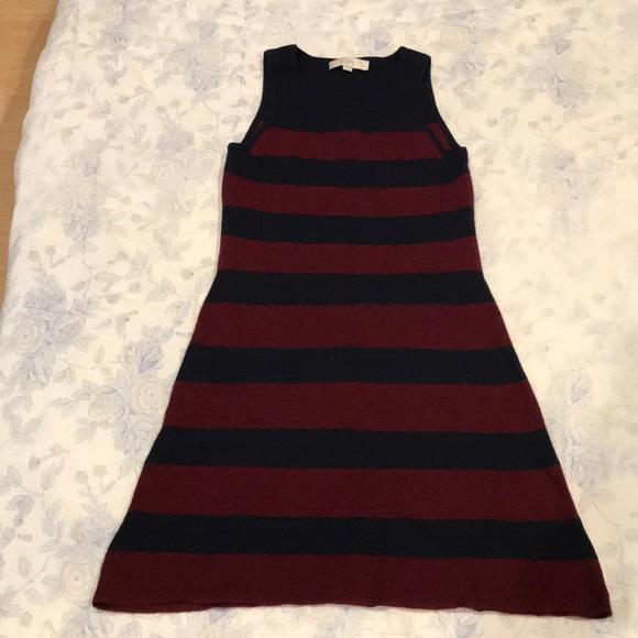 LOFT Dresses & Skirts - Navy & Burgundy Stripe Dress by Loft